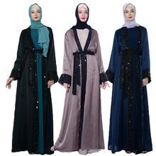 Dubai Open Abaya Strickjacke Frauen Satin Pailletten Lange Kleid Kimono Jilbab Islamischen Robe Kaftan Kleid Langarm Arabischen Patchwork Kleid