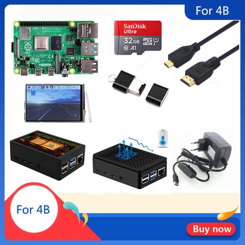 Original Raspberry Pi 4 Modelo B 1/2/4GB RAM   Carcasa   Disipador de calor   Adaptador de corriente   Tarjeta SD de 32 GB   Micro HDMI para RPI 4B