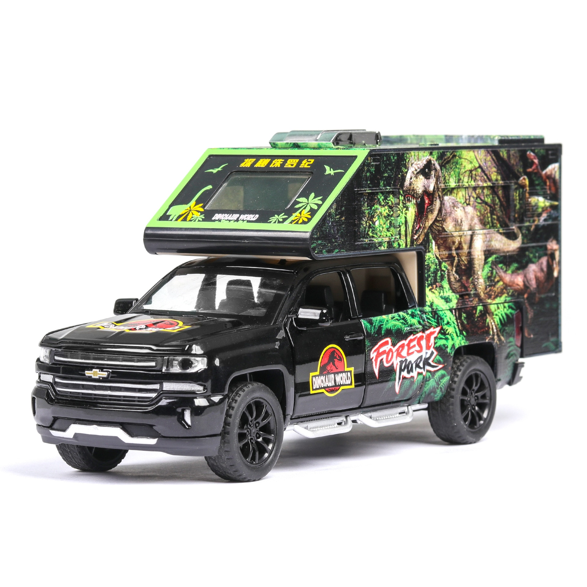 1:32 Diecast Car Model Metal Suv Vehicle Simulation Dinosaur Overlord Toy Car Plastic Wheels Sound And Light Pull Back Car Gift 1 24 diecast alloy car model metal car toy wheels toy vehicle simulation sound light pull back car collection kids toy car gift
