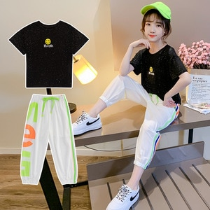 2021 summer kids Baby Girl Clothes teenager Smile face t shirt + loose striped trousers Capri pant 3 4 5 6 7 8 9 10 11 12 years