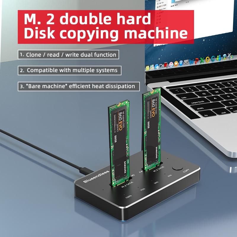 Dual Bay Hard Disk External Box NVME M.2 Efficient Heat Dissipation Docking Station Hdd Enclosure Type C Offline Clone Enclosure