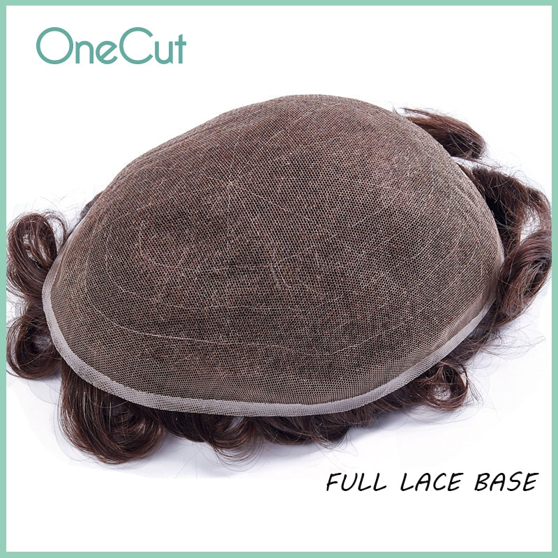 Full Lace Base Men Toupee Remy Human Hair Replacement System Natural Hairline Breathable Wigs Black Simulate Hair Pieces