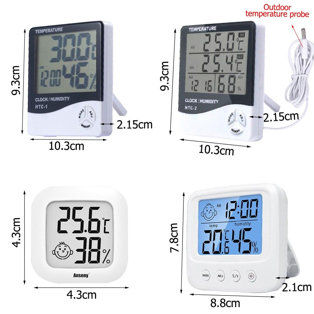 Электронный цифровой измеритель температуры и влажности с ЖК-дисплеем, комнатная и уличная метеостанция, часы, термометр, гигрометр, HTC-1 HTC-2