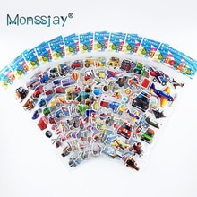 12 sheets/set engineering vehicle aircraft style 3D cartoon stickers toys for Children scrapbook DIY traffic sticker boys gift
