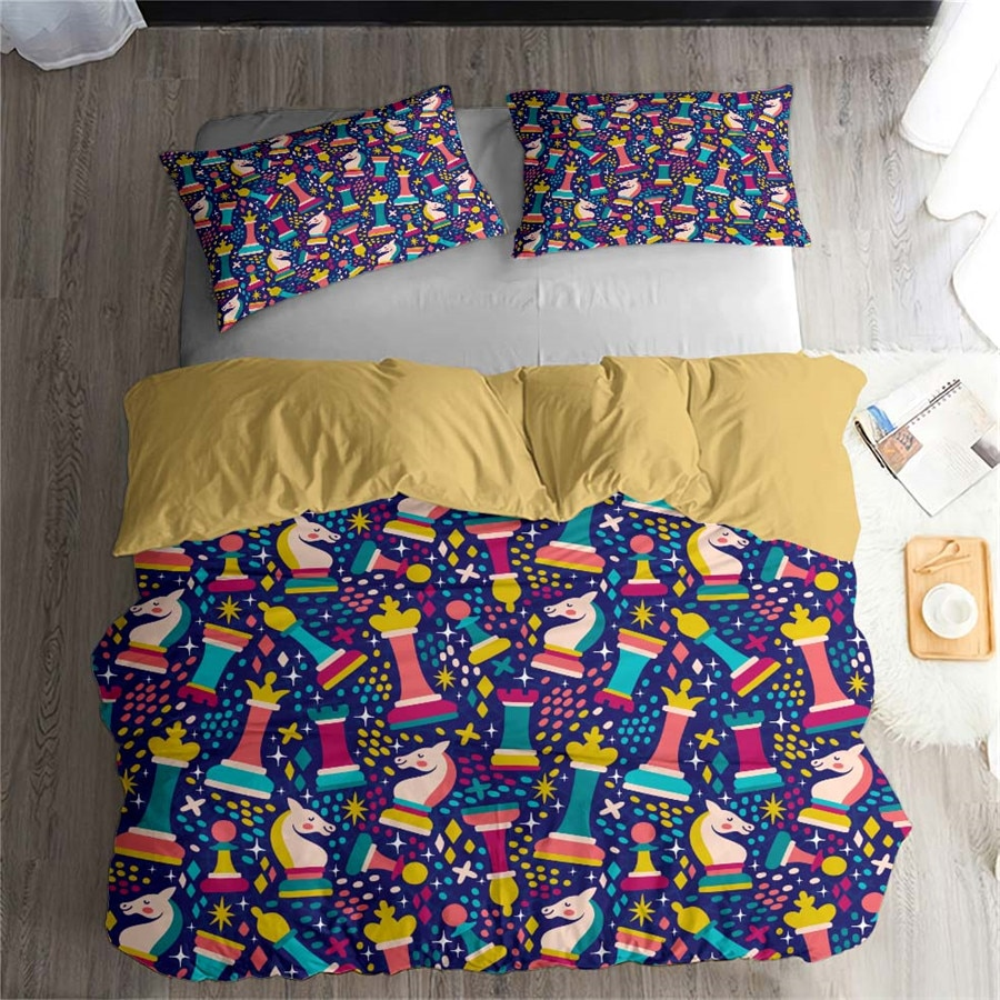 HELENGILI 3D Bedding Set International Chess Print Duvet Cover Set Bedcloth with Pillowcase Bed Set Home Textiles #GJXQ07