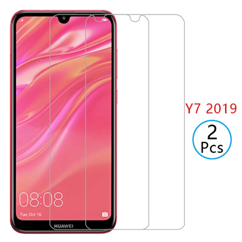 2pcs For Huawei Y7 2019 y7pro 2019 Tempered Glass Safety Screen Protector on huawei y7 2019 Y7 Pro 2019 Phone Protective Glass