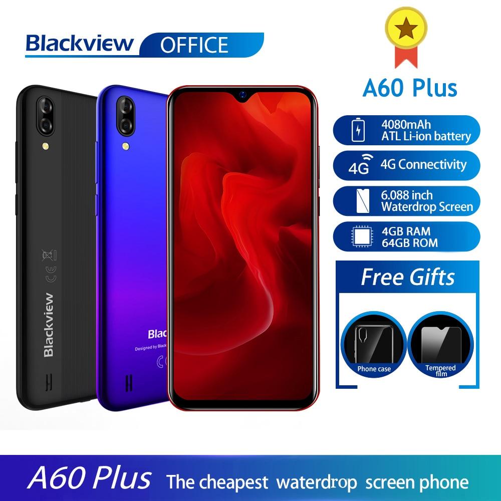 Перейти на Алиэкспресс и купить Blackview A60 Plus смартфон 4 ядра Android 10 4080 мАч мобильный телефон 4 Гб + 64 ГБ в виде капли воды, Экран 8MP двойной Camere 4G мобильный телефон
