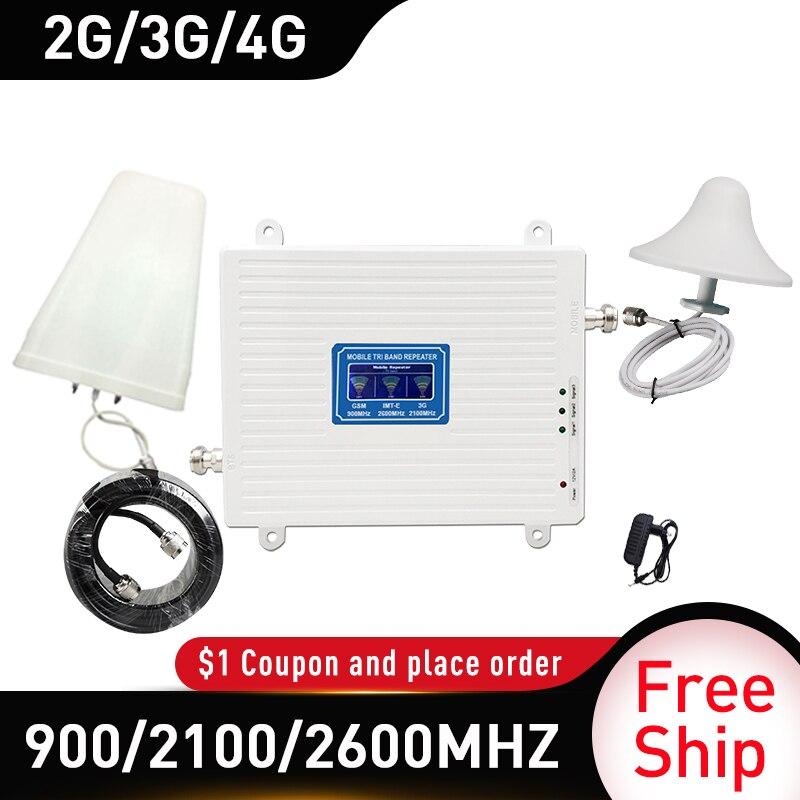 4g Signal booster 900/2100/2600 GSM UMTS WCDMA FDD LTE 2G 3G 4G Móvel celular Signal Booster Amplificador 4G Antena