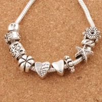 nice design heart big hole spacer beads 40pcs zinc alloy fit charm bracelet jewelry diy metals loose beads lm37
