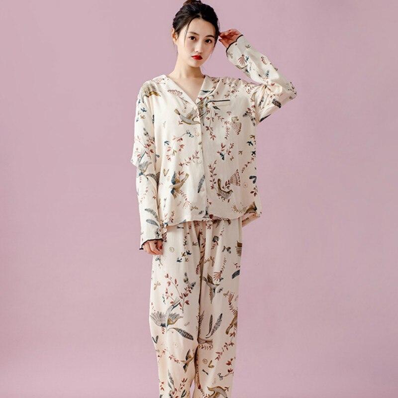 بيجامات موضة الربيع للنساء بنطلون كم طويل ملابس النوم الطيور طباعة بيجامات بلوزة فضفاضة غير رسمية ملابس نوم من قطعتين