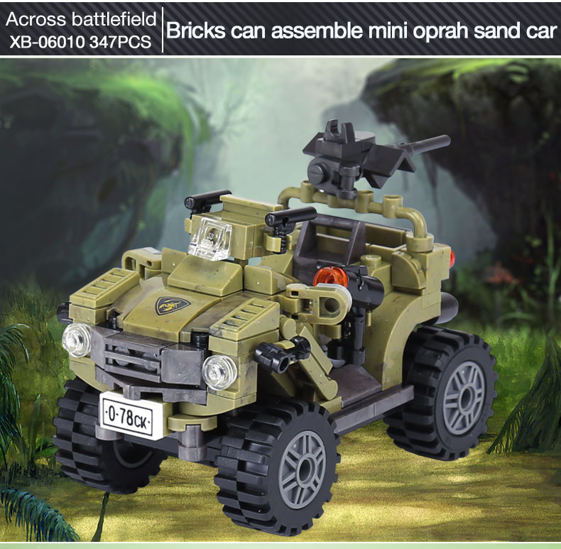 XINGBAO 06010 Genuine 34Military Series The Oprah Sand Car Set Building Blocks Bricks With Figure Toys For Children Gifts  - buy with discount
