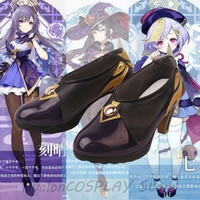 Новинка 2020, Лидер продаж, обувь для косплея Genshin Impact Keqing для Хэллоуина, обувь для косплея Yuheng Stars Keqing на заказ, фиолетовые туфли на высоком каб...