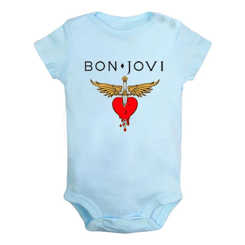 בון ג 'ובי רוק להקת אגף לב חרב קולדפליי רוק להקת יילוד תינוק בני בנות תלבושות סרבל הדפסת תינוקות בגד גוף בגדים