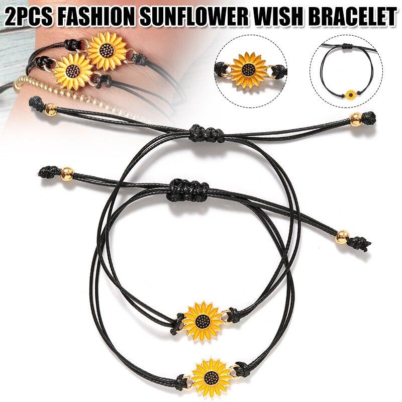 2pcs Fashion Sunflower Wish Bracelet Adjustable Braided Bracelet Summer Alloy L5
