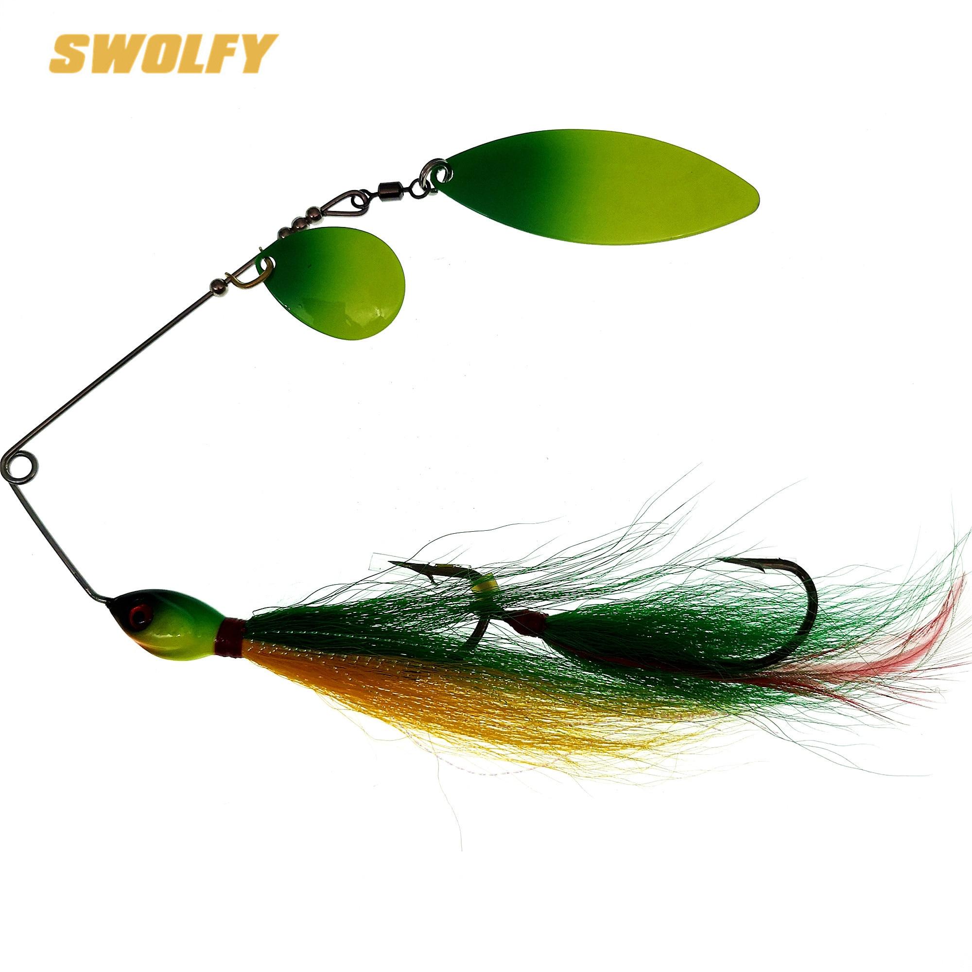 SWOLFY-طعم معدني لامع لصيد الأسماك ، إغراء لصيد الأسماك مثل البايك ، مع المتذبذبات والملعقة والغزلان