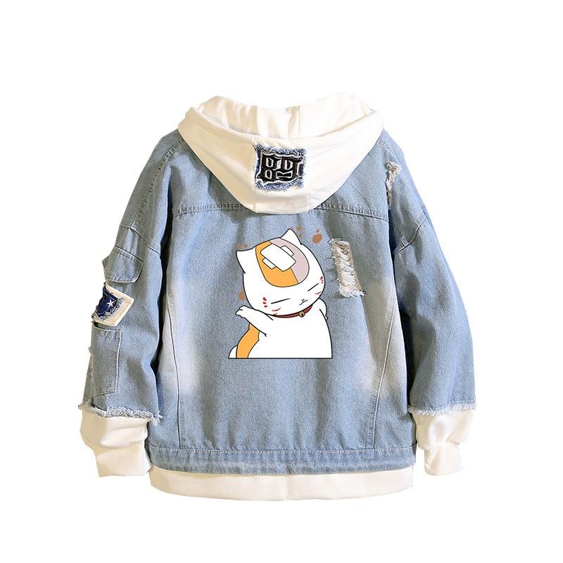 Natsume Yuujinchou Jeans Jacket Men Cosplay Costume Solid Casual Slim Denim Jacket Hip Hop Hole Printed Hoodie Fashion Coat