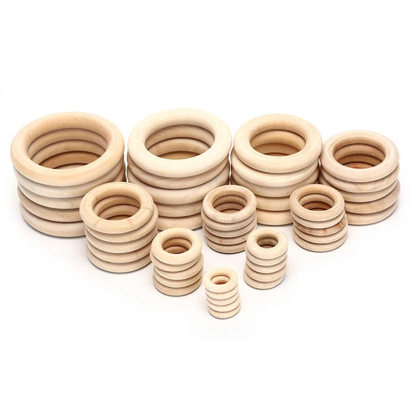 Hot Sale 1/5/10/20/50pcs Natural Wood Teething Beads Wooden Ring Children Kids DIY Wooden Jewelry Ma