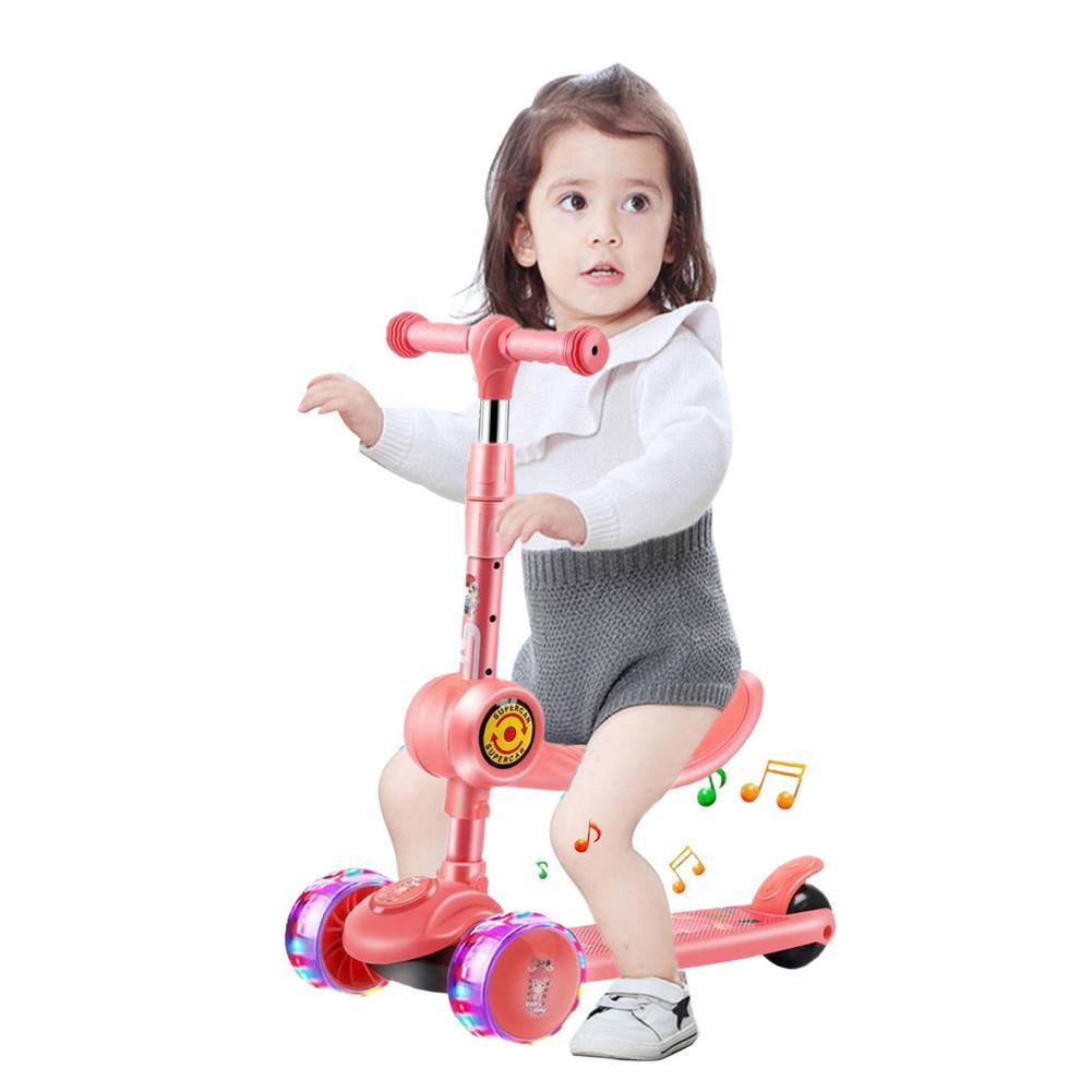 3 колесный самокат из алюминиевого сплава Скейтборд Дети Регулируемая высота мигающий светильник самокаты колеса игрушки подарки для дете...