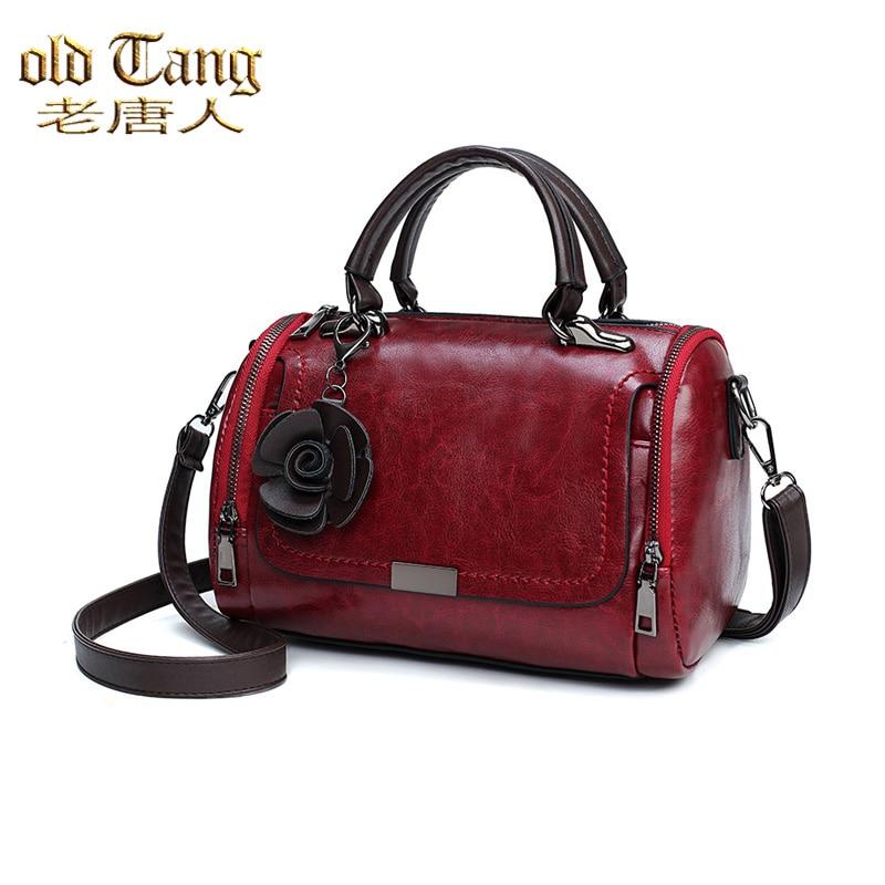 OLD TANG New Flowers Pendant Handbag Women's Fashion Boston Bags for Women 2021 New PU Leather Shoul