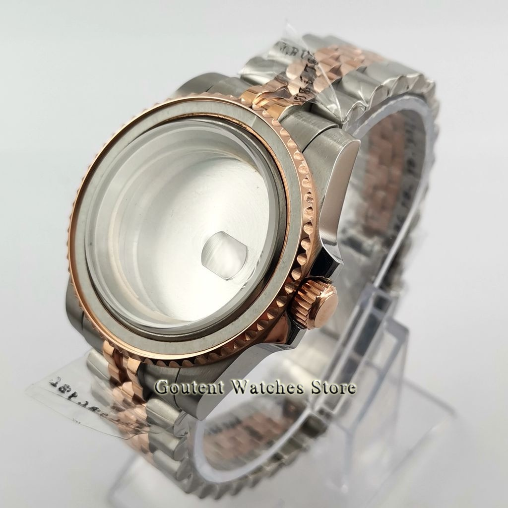 Alta qualidade 40mm prata assista caso jubileu pulseira de vidro safira data caber eta2836 miyota 82 series mingzhu dg 2813 3804 movimento