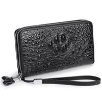 crocodile pattern mens wallet genuine leather clutch double zipper wallet card holder wrist bag cowhide handbag mens bag purse