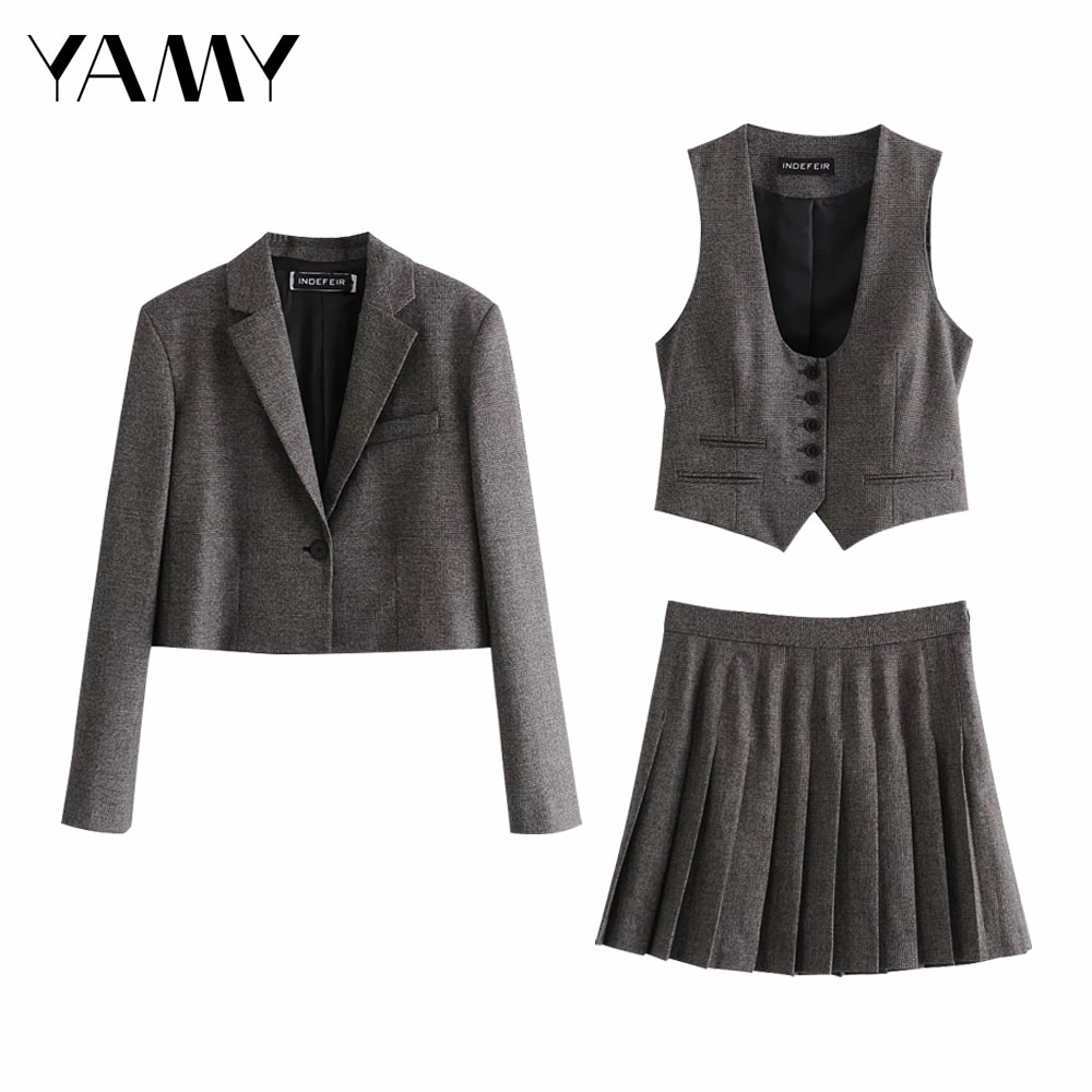 Za 2020 Winter latest Plaid Short Casual Suit Blazer College Style retro Gray Woman Jacket Office Lady Blazer Women