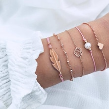 Charm European and American woven bracelet pearl lotus heart leaf 5 piece bracelet set for women gift