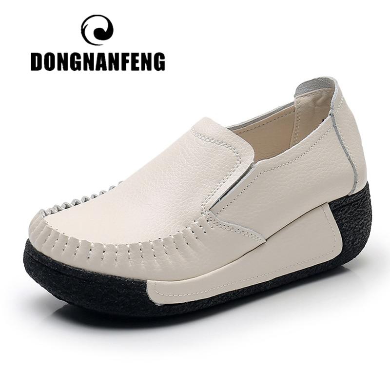 DONGNANFENG النساء الشقق الإناث الأم حقيقية أحذية من الجلد منصة الانزلاق على الأخفاف الأسود مريحة لينة موخير الحوامل