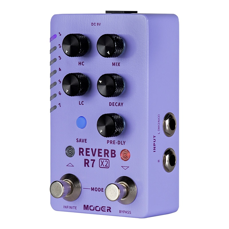 MOOER Reverb R7 X2 Guitar Pedal 14 Stereo Reverb Effects Atmosphere/Spring/Hall/Room with Infinite Function Reverb Guitar Pedal enlarge
