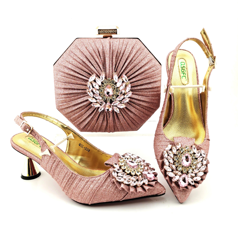 أحدث صيحات الموضة كريستال وردي اللون أشار تو سيدة أحذية و مجموعة الحقائب أحذية امرأة النمط الأفريقي و مطابقة محفظة مجموعة للحزب