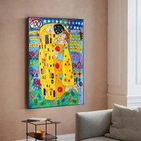 graffiti art the kiss reproductions oil painting canvas print wall picture for living room home decor frameless