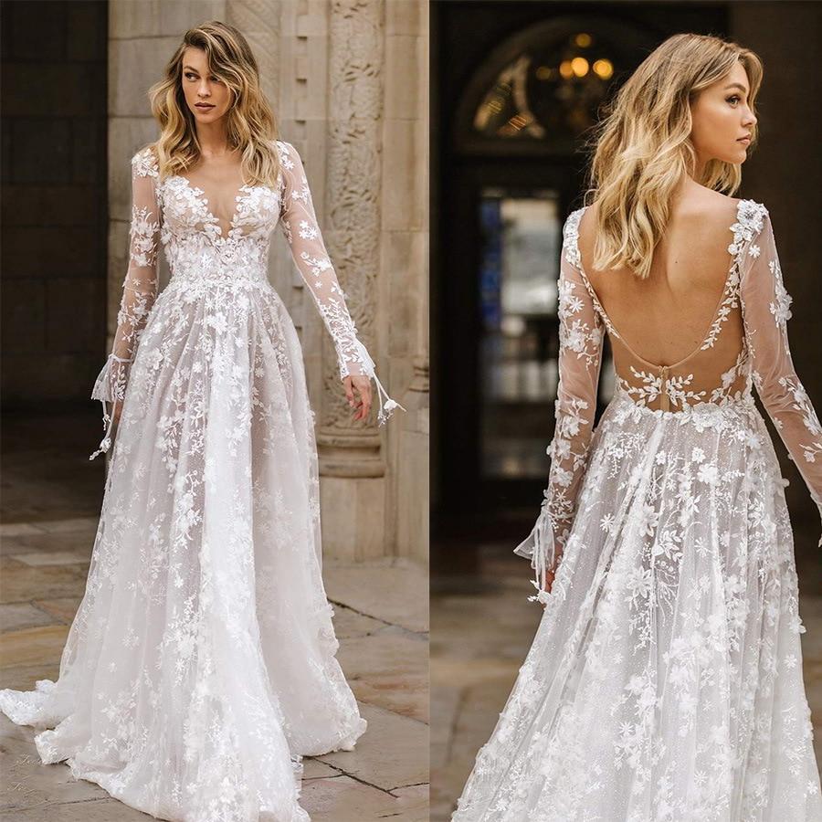 luxury design high-end lace flowers fashion sexy V-neck backless dress temperament slim elegant simple wedding dress long dress