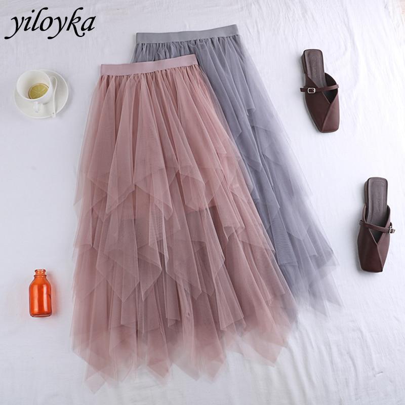 Elastische Hohe Taille Röcke Frauen Solide Unregelmäßige Mesh Tüll Röcke Elegante A-Line Lange Rock Damen Sommer Mesh Tutu tule Rock