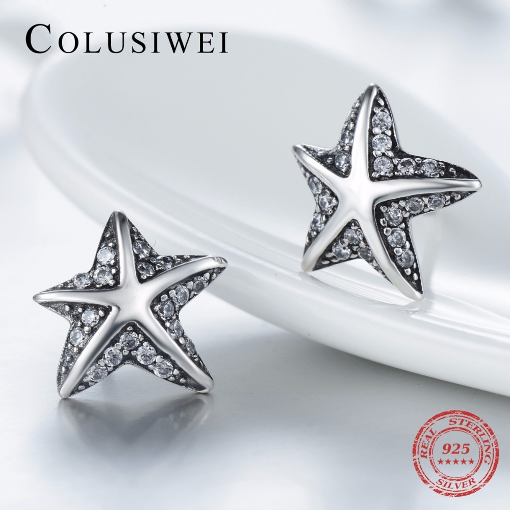 2021 Hot Sale Fashion Star Fish Authentic 925 Sterling Silver Stud Earrings Simple Vintage CZ For Women Wedding Jewelry Gift