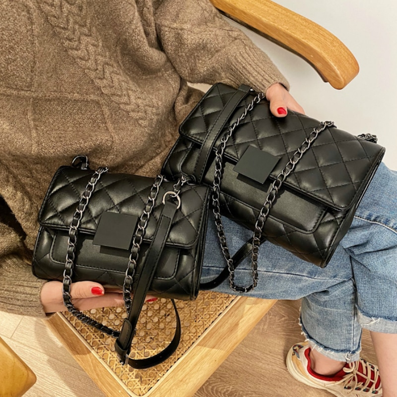 Winter Black Quilted Retro SMALL Crossbody Bag Women's Bag 2021 New Fashion All-Match Simple Shoulder Bag Tote Bag