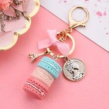 Porte-clés pour tour Macaron en résine, joli accessoire pour tour, or breloque pour sac rose, support pour clé de voiture, accessoire cadeau pour fille