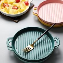 Obuuszne naczynie do zapiekania Pizza danie okrągły talerz płyta danie kreatywny piekarnik ceramiczny zachodni zastawa stołowa do kuchni kuchenka mikrofalowa płaski talerz