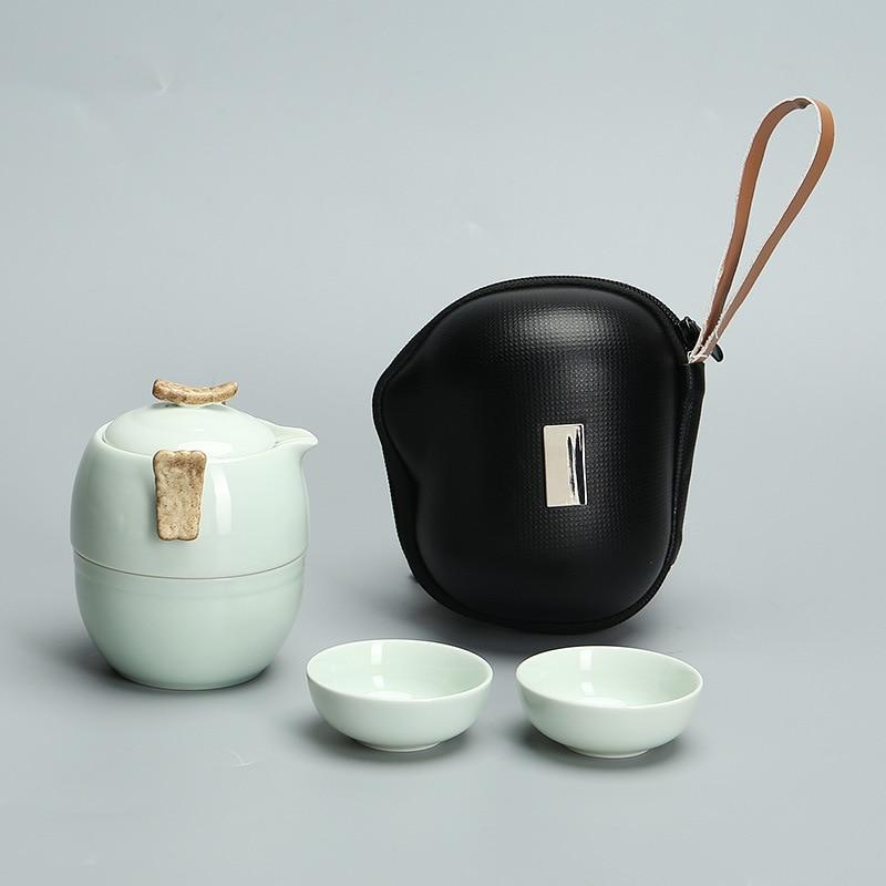 طقم شاي البورسلين الأبيض الكونغفو السفر بسيط المحمولة إبريق الشاي مجموعة كاملة من اكسبرس كوب هدية بالجملة