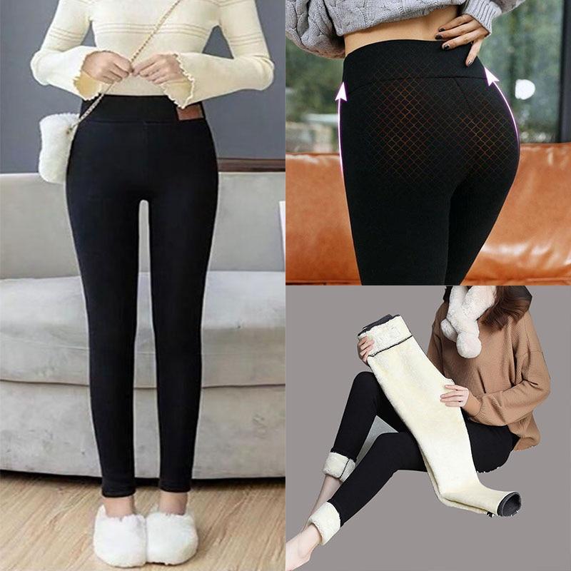 Черные теплые штаны, зимние леггинсы, женские теплые леггинсы, брюки для девочек, плотные бархатные шерстяные флисовые штаны для женщин, тон...