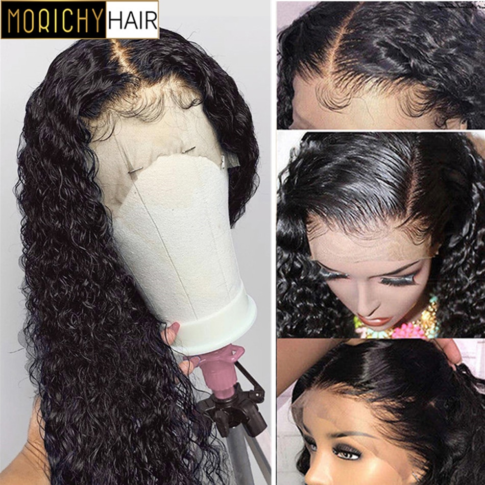 Morichy Kinky Curly Human Hair Wig 13x4 Front Lace Wigs Peruvian Lace Front Human Hair Wigs For Black Women Non-Remy