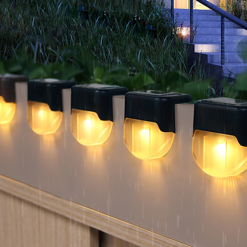 1 2 4pcs waterproof led solar stair light lamps outdoor courtyard pathway street garden stairs lamp night light energy saving 1/3/5/10pcs LED Solar Stair Lamp IP55 Waterproof Outdoor Garden Pathway Yard Patio Stairs Steps Fence Lamps Solar Night Light