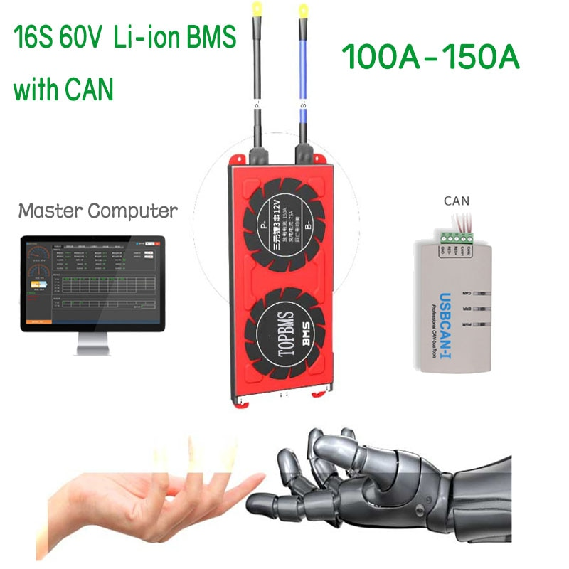 16 S 60 فولت ليثيوم أيون BMS100A150A مع بلوتوث الهاتف APP RS485 CANbus NTC UART لتحديد المواقع ل بطاريات ليثيوم 3.7 فولت متصلة في 16 سلسلة