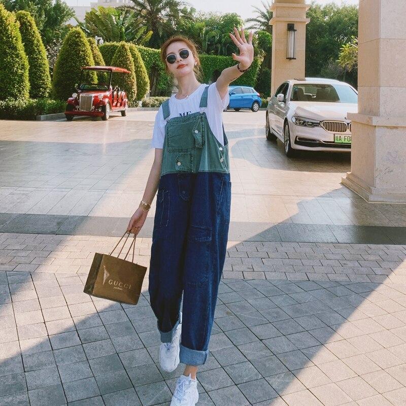 جديد 2021 موضة وزرة الدنيم الجينز فضفاض امرأة عالية الخصر الفتيات الشارع الشهير موخير السراويل السراويل الأخضر الأزرق الدنيم خمر