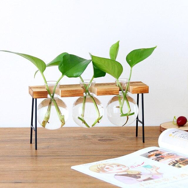 Jarrones para plantas hidropónicas mesa de vidrio Vintage plantas Bonsai macetas florero decorativo casero Base de madera artesanía regalos de boda