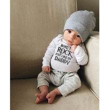 Born To Rock bebé recién nacido Body de algodón de manga larga Body Baby Boy Girl mameluco enterizo Baby Rock ropa