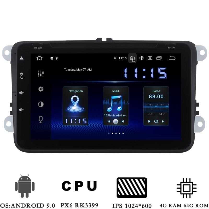 2 din Android 9,0 Car Radio para VW Passat Golf MK5 MK6 2006-2011 GPS Navi PX6 DSP HDMI 2.5D IPS pantalla 4GB + 64GB BT RDS