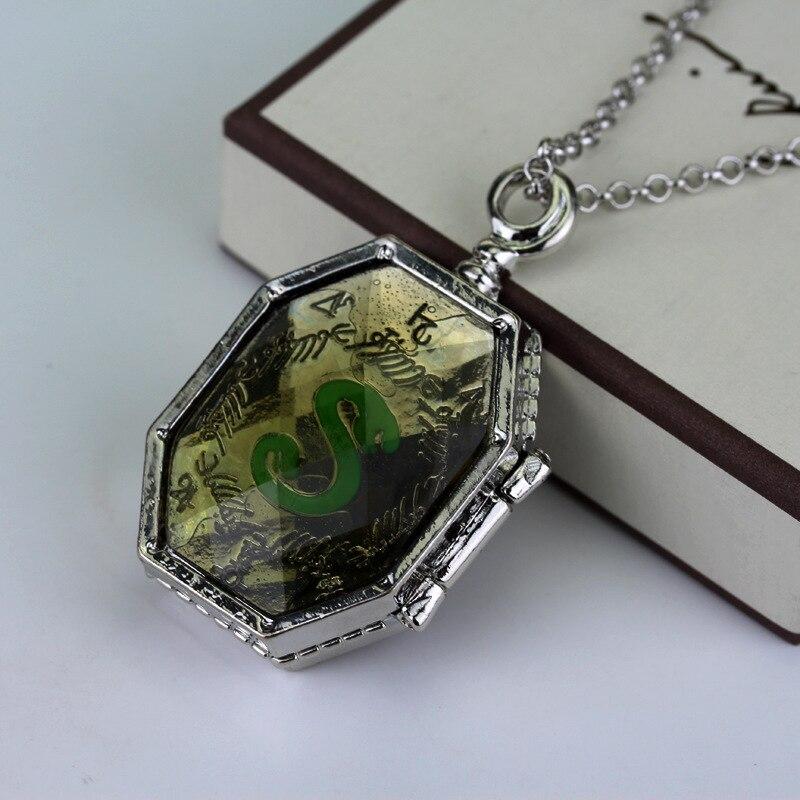Harry Horcrux box necklace Hogwarts Slytherin Lord Voldermort Magic Items glass face pendant men women fashion retro jewelry