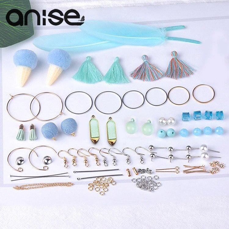 Pendientes de plumas, paquete de joyería DIY, pendientes de borla de perlas de imitación geométricas, pendientes para piezas de joyería, accesorios hecho a mano 10 pares