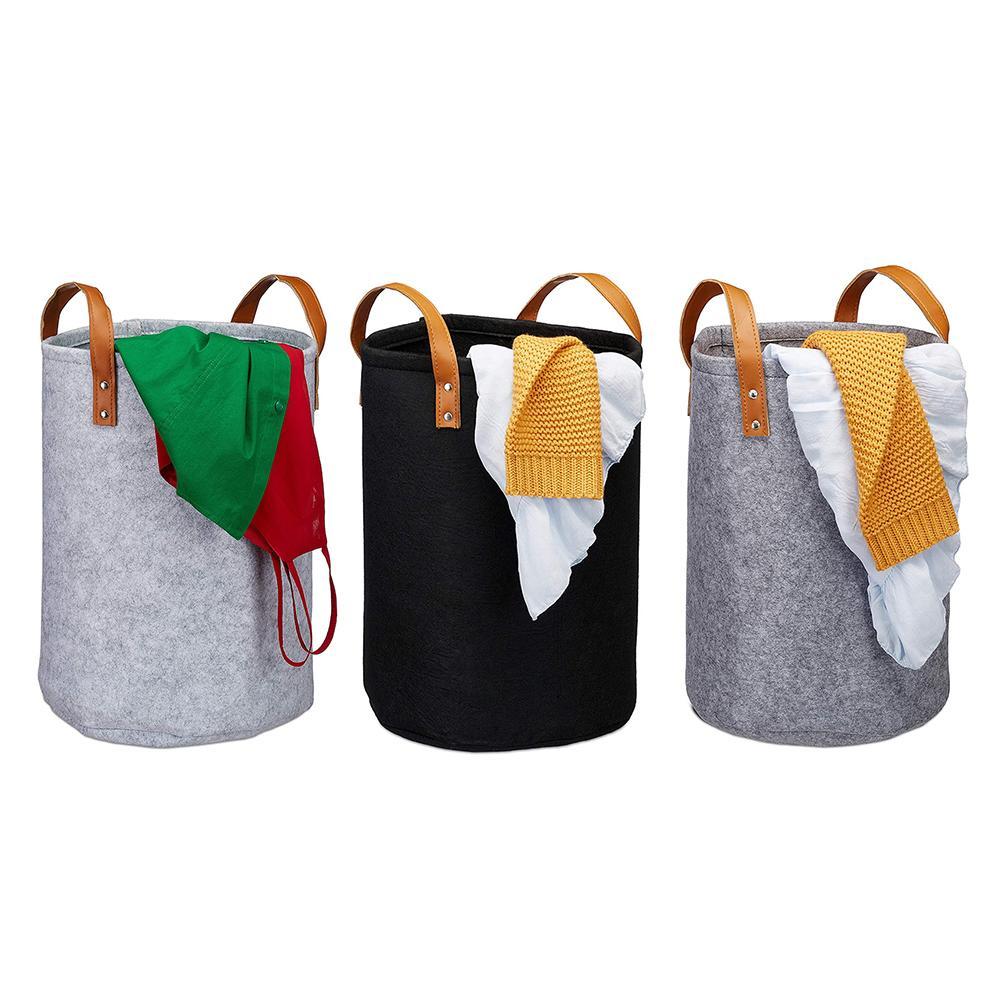 Felt Laundry Toys Basket Storage Barrel Clothing Storage Bucket Laundry Organizer Dirty Clothes Washing Organization
