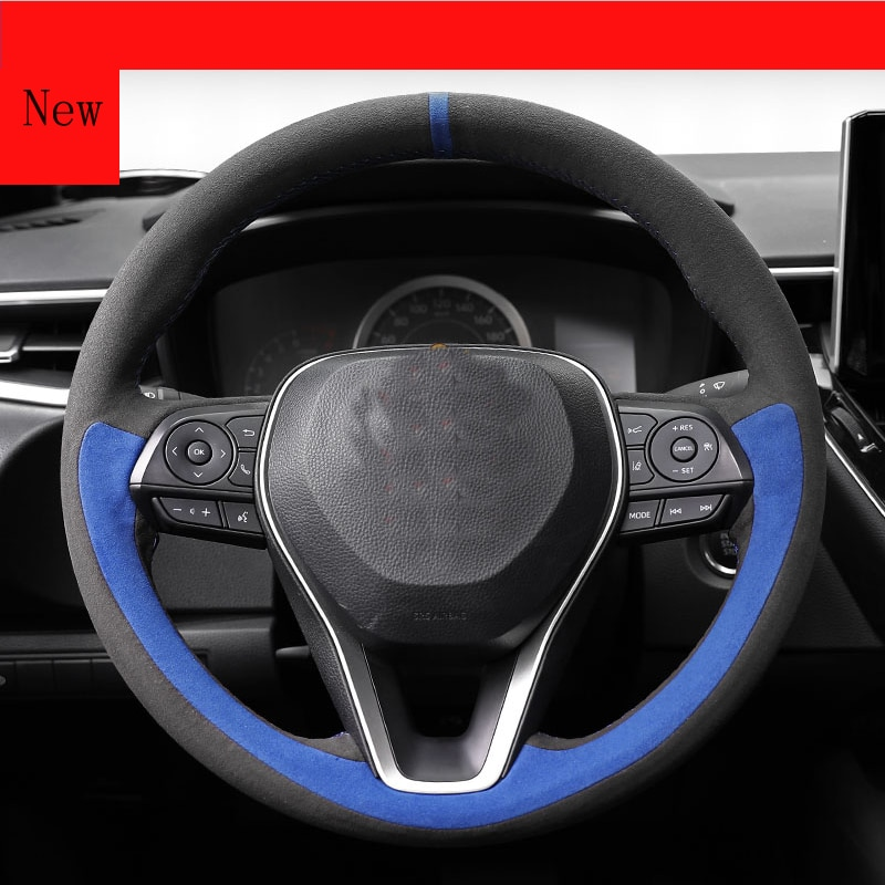 for Mercedes Benz E-class E300l E260 GLC C260l C200 Hand-Stitched Leather Suede Car Steering Wheel Cover  Interior Accessories enlarge